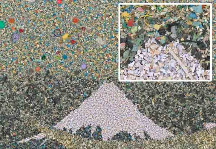 2.4 million: the number of pounds of plastic that enter the world's oceans every hour.<br> All of the plastic in this image was collected from the Pacific Ocean.