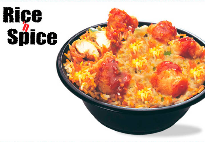 Pakistani KFC locations offer the usual chicken-based meals that can be found in the States, along with an assortment of deep-fried sandwiches. However, their crowning glory is the Rice n' Spice: A biryani dish of rice cooked with spicy chili chicken.