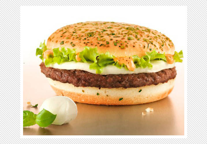 As any New Yorker who has ordered a pizza burger deluxe at their local diner knows, mozzarella cheese tastes delicious on a burger. McDonald's Italy took this a step forward with their Mozzarillo: A hamburger topped with mozzarella cheese, lettuce and basil-tomato mayonnaise on a focaccia bun.