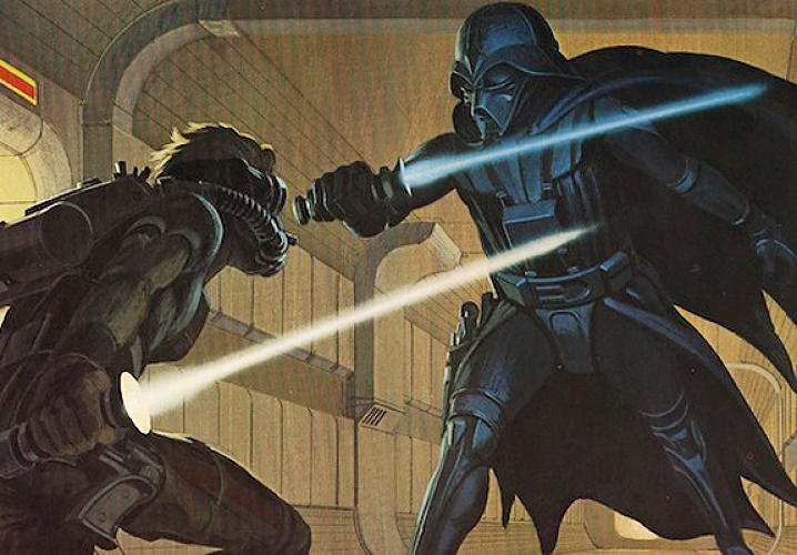 McQuarrie is credited with the idea that Vader wore a breathing apparatus, leading to the iconic black mask and helmet look of the character and the spine-chilling sound of his breaths.<p></p> The lightsabers in this sketch were also important--sound engineer Ben Burtt noted, in that same VH1 documentary, that it was when he saw a McQuarrie sketch just like this one, of the final lightsaber battle between Vader and Kenobi, that he instantly knew what sound they should make: &quot;I knew it would be, it would be sort of a musical sound, but it would have a threatening quality to it, but also, ah, a magical quality.&quot;</p> <p>And thus the sound effects for a billion kid battles with plastic lightsabers were created.</p>
