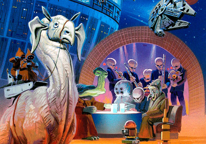 Did Greedo shoot first? That's a question <em>Star Wars</em> fans and George Lucas himself will fight over for years. The scene happened in the Cantina bar--jammed with dozens of alien species, and with a bizarre live music act as background to the drama. It's all here in McQuarrie's collage.