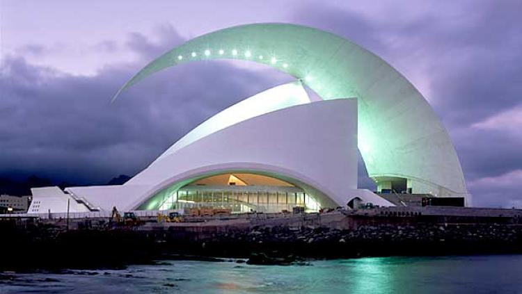 The 2003 Tenerife Auditorium in Spain's Canary Islands, is one of Calatrava's most visually spectacular structures, echoing Jorn Utzon's Sydney Opera House. The original sketches for the building began with shapes that looked like sting rays, hinting at the natural forms that are often Calatrava's inspiration. He used similar shapes in the Lyon-St. Exupery Airport Railway Station.