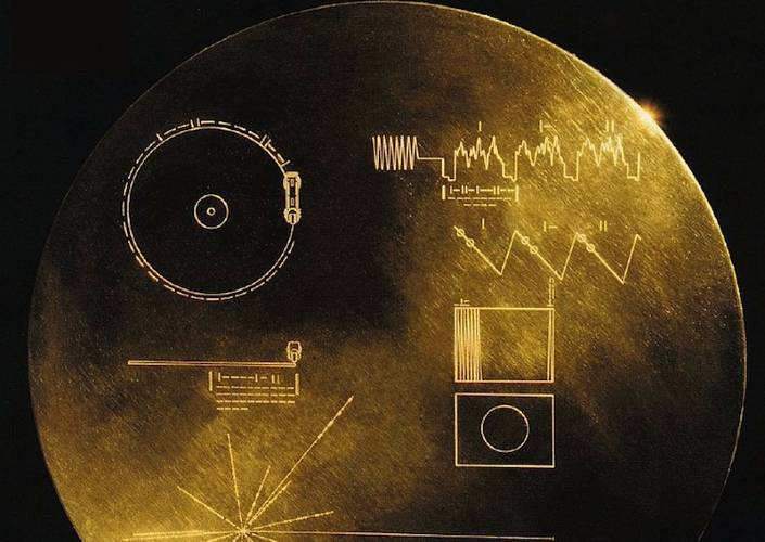 <p>If interplanetary aliens ever find Voyager in deep space, they'll discover its famous golden record pinned to the side. Decorated with symbols that tell them how to listen to the record, and where it came from, the 12-inch gold-plated copper disc contained inside the cover is filled with sounds and images depicting Earth and its various life forms. There's even some snatches of music encoded on there. Sadly a sample of Gustav Holst's The Planets isn't one of them.</p>  <p>It'll be forty thousand years until the probes and their records reach nearby stars, and it's worth noting that in comparison Homo Sapiens--our species--only began to behave the way us modern humans do about 50,000 years ago.</p>