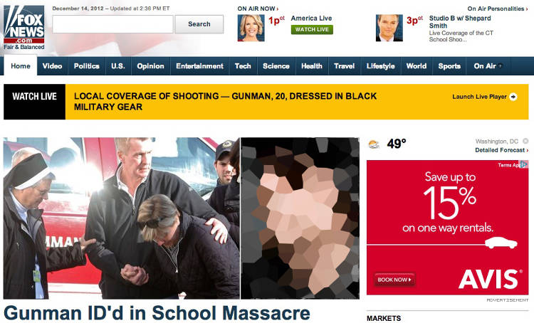 <p>Fox runs the image of a man from Facebook whose name matches the name being reported as the shooter. (We blurred his face here.)</p>