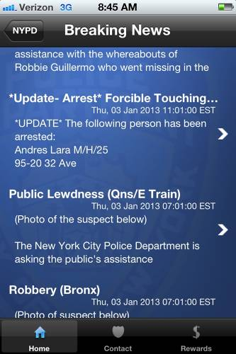 <p>It's on the Breaking News page that the app's info may give you pause before boarding that next uptown F train--as you can see crimes happening essentially *at this minute* all over town. Forcible Touching? Public Lewdness? <em>Yeesh</em>. On the plus side, this feature can really help by...</p>