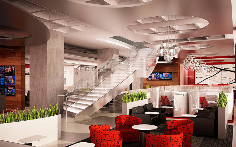 <p>Regus's business lounge in New York.</p>