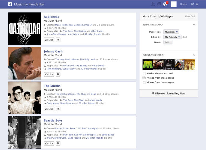"<p>Example search: ""Music my friends like""</p>  <p>Who Else Is Doing This With Facebook's Data: <a href=&quot;https://itunes.apple.com/us/app/raved/id539768510&quot; target=&quot;_blank&quot;>Raved</a></p>"