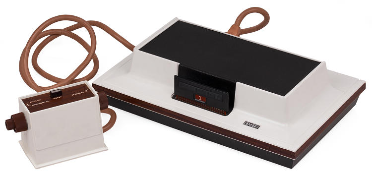 <p>Said to be the world's first commercial home video game console, it had &quot;cartridges&quot; that physically programmed the circuits inside the box. Suffered from poor marketing and confusion over which TV sets it could work with. Battery powered and quickly outclassed by Atari machines.</p>