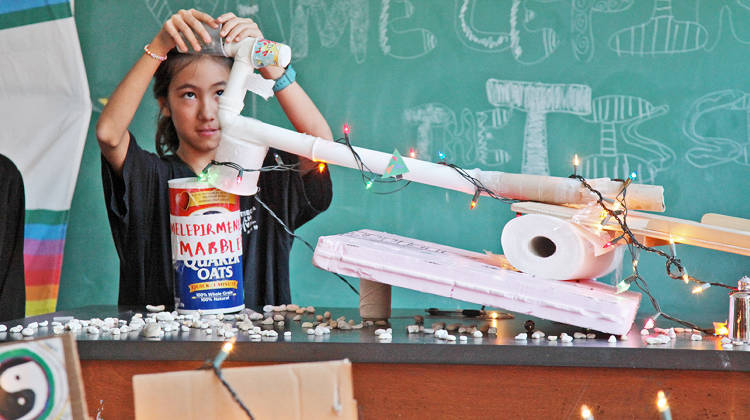 <p>Quest School students often solve difficult design challenges. At Quest to Learn in New York City, students build a Rube Goldberg machine to demonstrate they understand the nature of a complex system.</p>