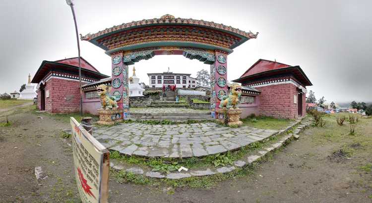<p>An exterior shot of the Buddhist retreat.</p>