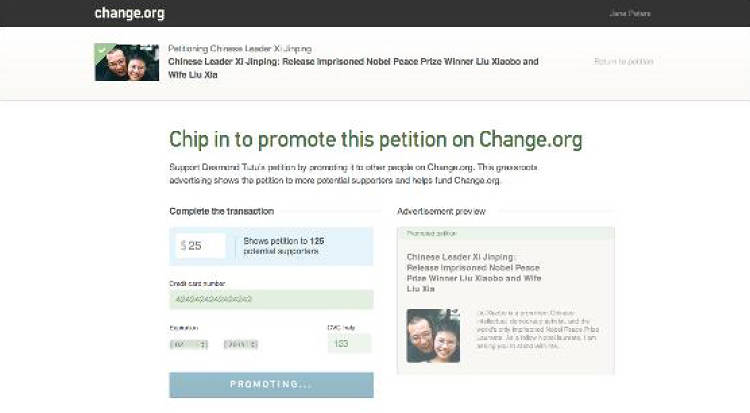 <p>Step 2: Take the next step<br /> I click Promote Petition...</p>