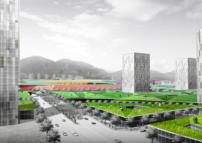 <p>Sejong PAT: A net-zero, 664-acre master plan for a new administrative town in South Korea. Under construction in six phases. Balmori's always thought of green roofs as the &quot;fifth facade&quot;.</p>