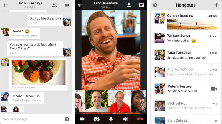 <p>Hangouts, a standalone messaging app for Android, iOS, and Chrome, is designed to feel like everyone in a given conversation, or &quot;hangout,&quot; is in the same room. It includes features such as group video chats and in-chat photo sharing.</p>