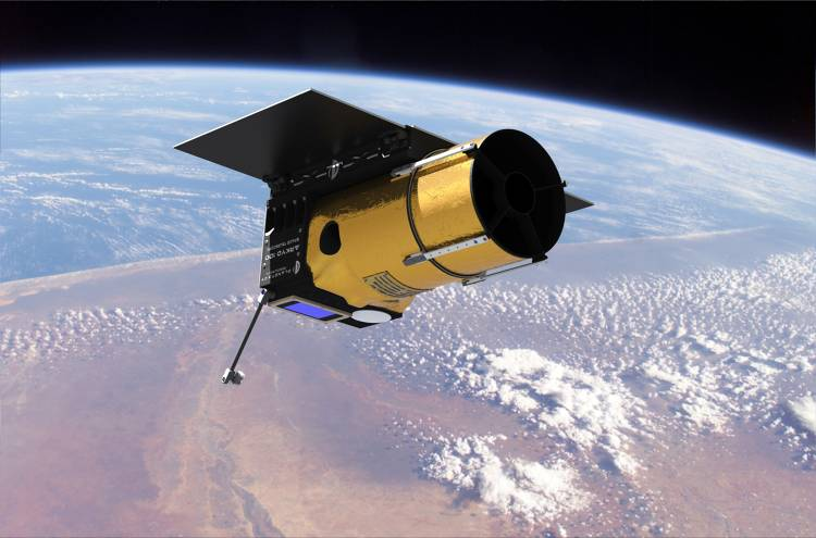 <p>Artist's rendering of the Akryd 100 telescope in space.</p>