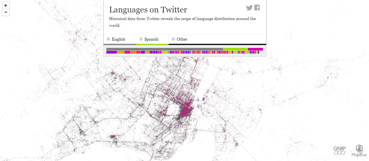 <p>Twitter metadata clearly shows Montreal divided into Anglophone and Francophone neighborhoods.</p>