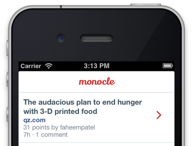 <p>Monocle's mobile interface.</p>