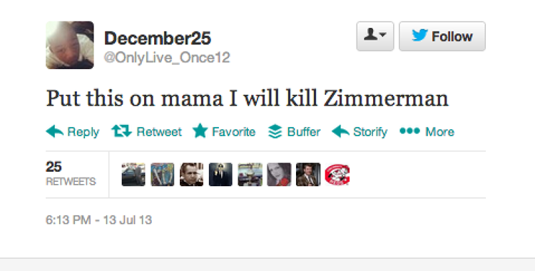 <p>Some took to Twitter with threats against Zimmerman.</p>