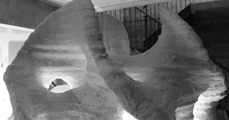 <p>This is the Rygo sculpture from Bathsheba Grossman, printed in artificial stone--similarly to the way future Moon bases would be made.</p>