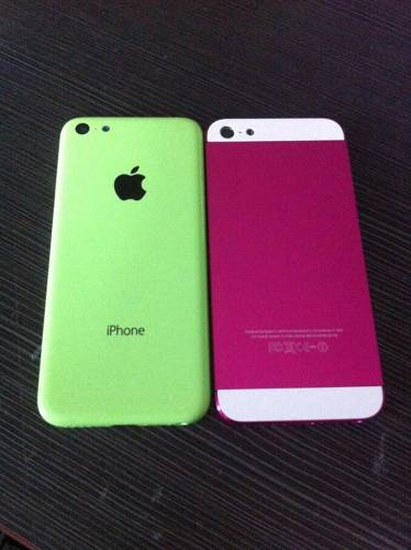 <p>A green plastic iPhone against an older iPhone 5. Note the similar size, which suggests a 4-inch screen.</p>