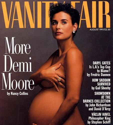 <p>A heavily pregnant Demi in August 1991...</p>