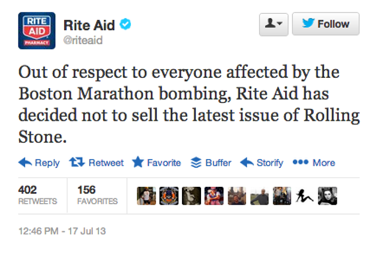 <p>RiteAid joins the boycott.</p>