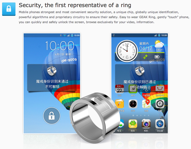 <p>The Geak Ring allows you to unlock a phone, as well as exchange information with another user.</p>