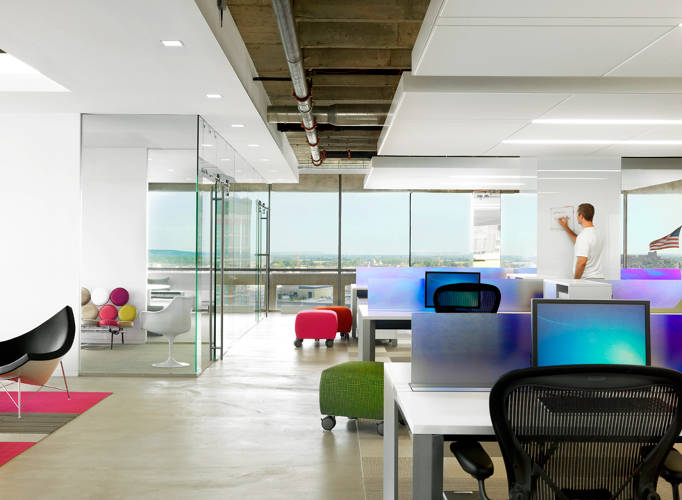 <p>Most of the surfaces in ShipWorks' open office are writable, allowing for spontaneous brainstorming.</p>