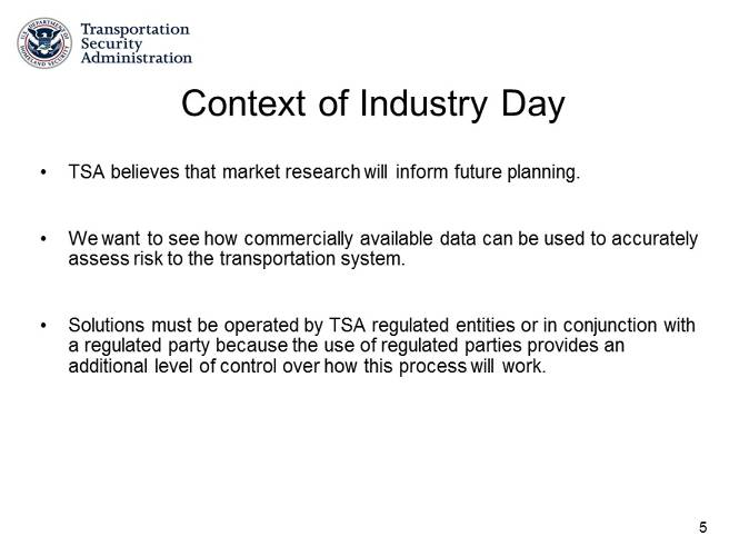 <p>Slide explaining to contractors the TSA's interest in commercially obtainable information on American citizens.</p>