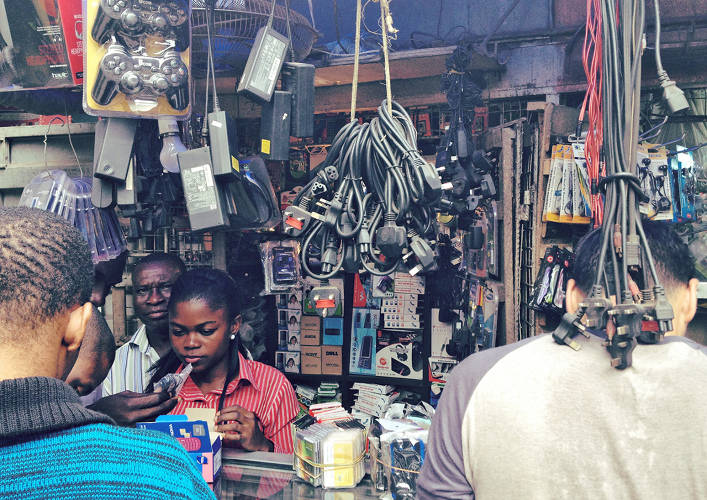 <p>A market for cell phones and accessories in Lagos, Nigeria.</p>