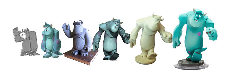 <p>Variations of Sulley as he evolved from virtual character to physical toy.</p>