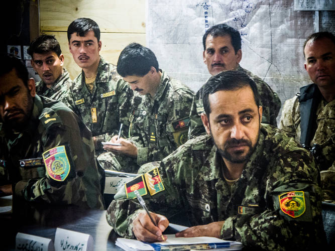 <p>As at many corporations, Afghan brigade leaders hold morning meetings to get updates on key operational issues--in this case, everything from the number of enemy attacks in the past 24 hours to sanitation issues. While illiteracy is a profound problem at lower levels, the Marines said these officers' PowerPoint skills put their own to shame.</p>