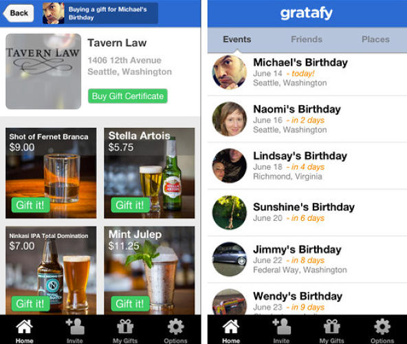 <p>Gratafy adds a social spin to the idea by allowing users to give drinks and food to their Facebook friends. Recipients share a code with the bartender to redeem their gifts.</p>