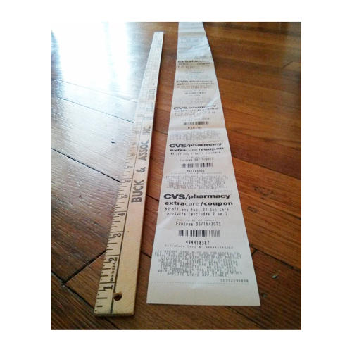 <p>&quot;This morning's [CVS] receipt spans almost 45 inches. Smaller coupons, please.&quot; -- <a href=&quot;https://twitter.com/Robpegoraro&quot; target=&quot;_blank&quot;>@robpegoraro</a></p>