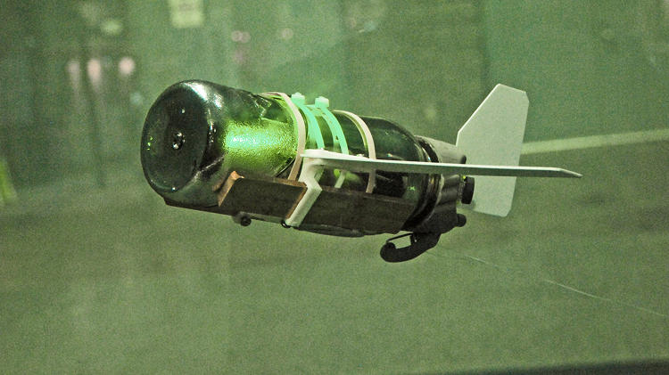 <p>NavSea underwater glider works without a propeller. It's made out of a plastic water bottle and a big syringe that changes its buoyancy, allowing it to glide without any mechanical propulsion.</p>
