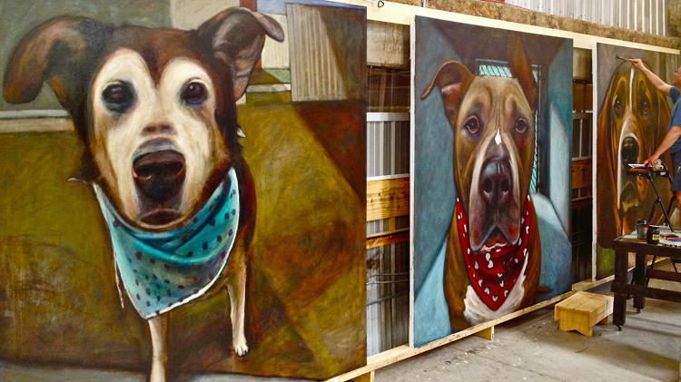 <p>Left to right: Santina, Mark's dog of 21 years (who will be the gatekeeper at the museum). Next is Batman (froze to death, left outside), then on the right where Mark is painting, Grant, who was a bassett hound, killed for food bowl aggression.</p>