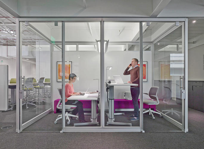 <p>Steelcase's new Innovation Center at its Grand Rapids, Michigan, headquarters offers plenty of collaborative zones, but there are also spaces like these for quiet, focused work to let ideas develop.</p>