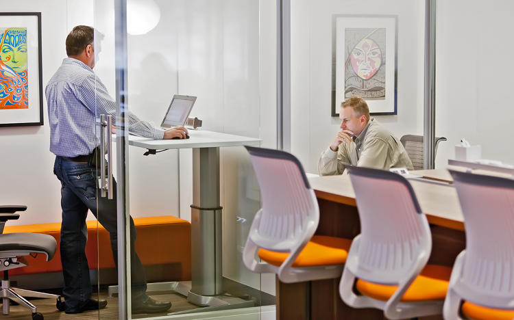 <p>Steelcase workers take advantage of quiet spots for focused work.</p>