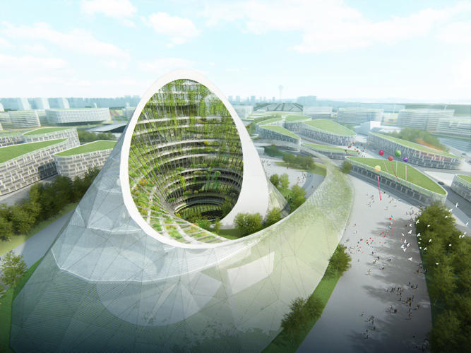 <p>Lesser known but talented firms, like China's Studio Pei-Zhu, offered up visually stunning, if similarly over-the-top, ideas. Studio Pei-Zhu envisions a whorling glass-covered hill with hanging gardens in its center.</p>