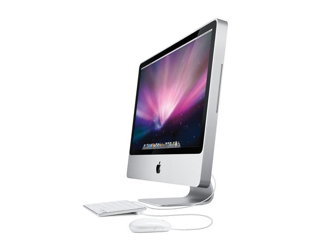 <p>Apple's line of redesigned iMacs captured the aluminum look of recent iPod models and featured only one visible screw, a testament to the meticulous design philosophy.</p>