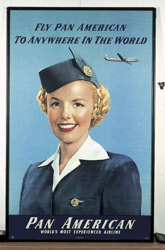 <p>An early 1950s magazine advertisement for Pan American airlines. Being a stewardess was as glamorous as jobs got.</p>