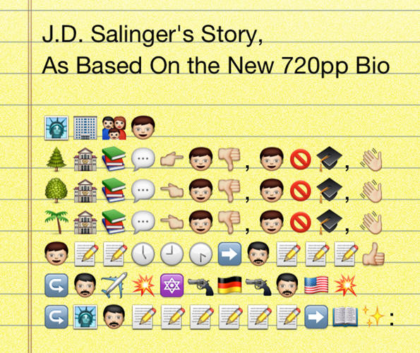 <p>You <em>could</em> read the 720-page bio, or see the documentary on opening night tomorrow--or you can gain deep insight into the real J.D. Salinger via these seven lines of graphically reductive characters. We're not certain that Salinger got kicked out of prep school Holden-style, but he certainly waved goodbye to multiple educational institutions. When he was a little older (though not known to have a mustache in real life), the author fought in WWII. Fortunately he came back to the city where the Statue of Liberty lives and started writing <em>The Catcher in the Rye. </em></p>