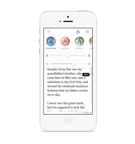 <p>Oyster offers several themes that change the look and feel of the app, each named for different New York landmarks, like the Standard and Nomad hotels and Herald Square, pictured here.</p>