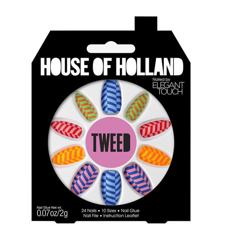 <p>The nine different sets of nail designs are displayed in a kaleidoscope layout in a house-shaped box.</p>