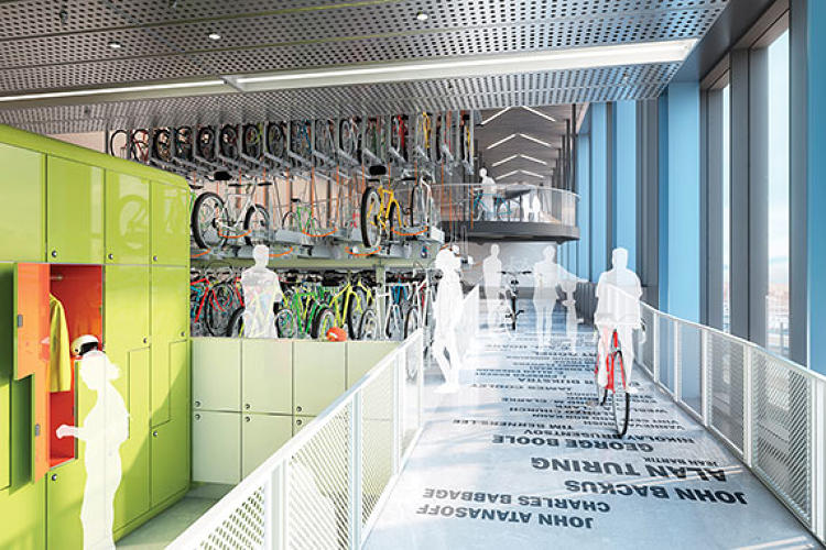 <p>Over 20,000 square feet has been dedicated to bicycle storage: Taking that, the swimming pool, and running track into consideration, how many Googlers will fit training for the modern triathlon into their work day? There's probably an algorithm for that.</p>