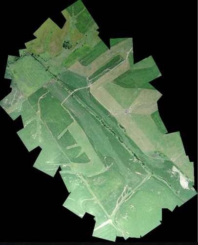 <p>A stitched ariel view of a farm field survey area.</p>