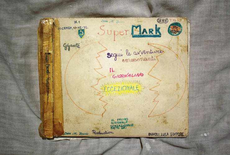 <p>Multimedia artist Luca Buvoli keeps a comic book he made when he was 9 about the adventures of &quot;Super Mark&quot; at his studio for inspiration.</p>