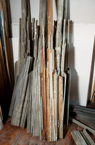<p>Leftover casings in Diana Al-Hadid's sculpture studio</p>