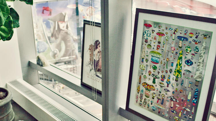 <p>A Takashi Murakami piece in Chen's Times Square office.</p>