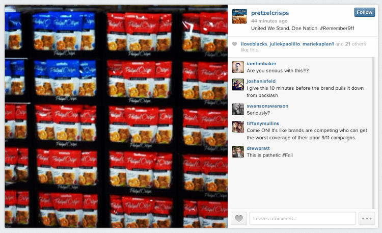 <p>And then there's this, because nothing says &quot;Never Forget&quot; quite like hundreds of bags of Pretzel Crisps arranged to resemble the American flag.</p>
