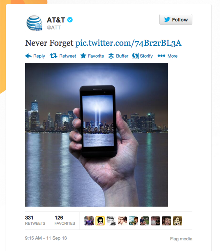 <p>AT&amp;T was one of many brands tweeting about 9/11 on the 12th anniversary. This tweet was quickly deleted after Twitter responded with outrage.</p>